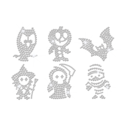Crystal Cute Characters of Halloween Rhinestone Iron On