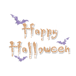 Happy Halloween with Glittering Bat Iron on Rhinestone Transfer Motif