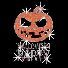 Halloween Party with Glittering Pumpkin Rhinestone Iron On