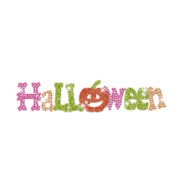 Glittering Halloween Iron on Neon Rhinestud Transfer Decal