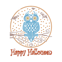 Glittering Happy Halloween with Owl Iron on Rhinestud Transfer Decal