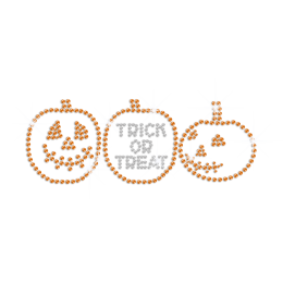Sparkling Trick Or Treat Iron on Rhinestone Transfer Decal