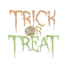 Customized Trick Or Treat Iron on Rhinestone Transfer Decal