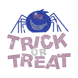 Trick Or Treat with Smiling Spider Glitter Rhinestone Iron On