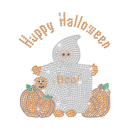 Crystal Specter with Pumpkin Iron on Rhinestone Transfer Decal