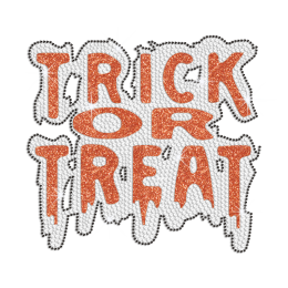 Glittering Trick Or Treat Iron on Rhinestone Transfer Decal
