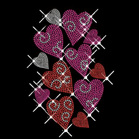 Rhinestud Hot Fix Heart Motif Design