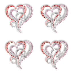 Crystal Heart Hotfix Design Strass Motif