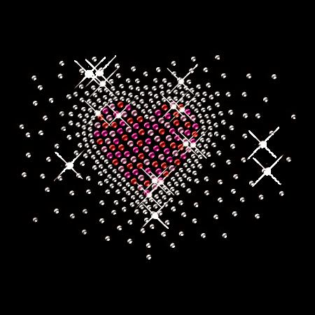Rhinestone Bling Heart Pattern Transfer for Garment