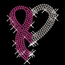Pink Ribbon Detailed Iron on Strass Heart Motif