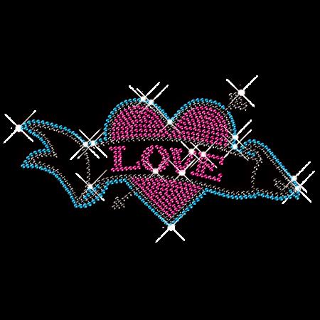 Crazy Love Rhinestud Hot Fix Transfer Design