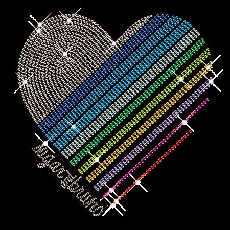 Gradient Color Nailhead Heart Iron on Design