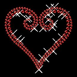 Ruby Heart Crystal Hotfix Transfer Pattern