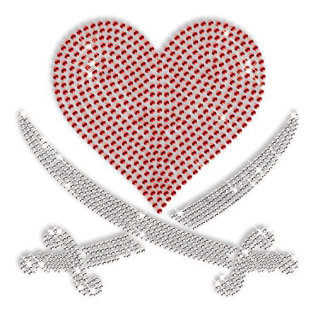 Red Heart with Crossed Sword Custom Rhinestone Iron on