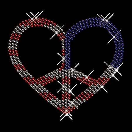 Heart with Peace Iron on Rhinestone Design