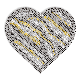 Zebra Print Heart Design Rhinestone Hotfix Transfer