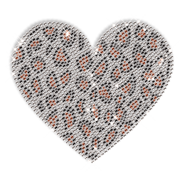 Leopard Pint Heart Image Hotfix Strass Transfer for Clothes