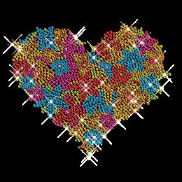 Gorgeous Color Rhinestone Heart Crystal Hotfix Motif