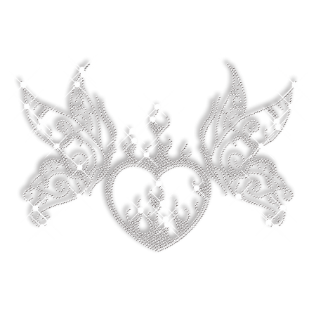 Clear Crystal Heart with Butterfly Motif Iron on Design
