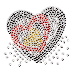 Heart within Heart Design Rhinestone Iron on Transfer
