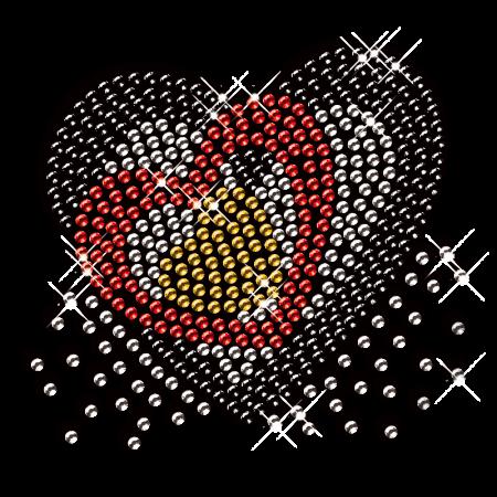 Heart within Heart Design Rhinestone Iron on Transfer