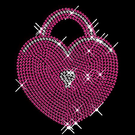 Bling Rhinestone Iron on Heart Lock Motif Pattern