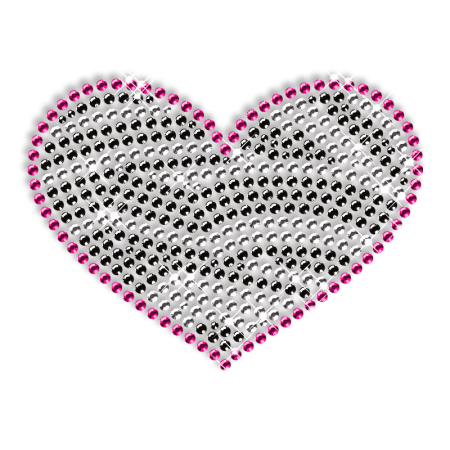 Sparkling Rhinestone Heart Motif Hotfix Design