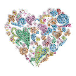 Bling Rhinestone Colorful Heart Iron on Transfer