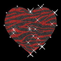 Zebra Print Heart Bling Hotfix Transfer