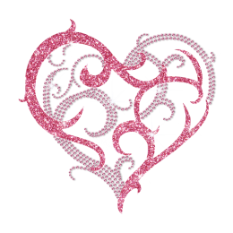 Custom Iron on Sweet Heart Rhinestone Design