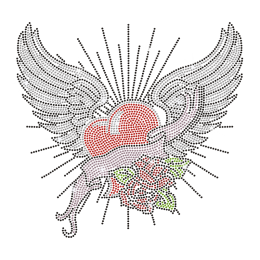 Rose Heart with Wings Hotfix Rhinestone Transfer