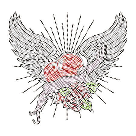 Rose Heart with Wings Hotfix Rhinestone Transfer