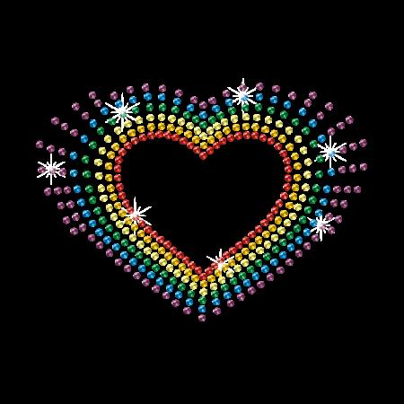 Rainbow Heart Rhinestud Fashion Hotfix Transfer