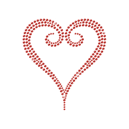 Simple Heart Outline Iron on Motif Rhinestone Design