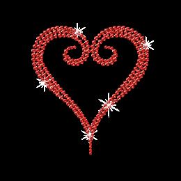 Simple Heart Outline Iron on Motif Rhinestone Design