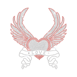 Bling Strass Love Heart n Wings Iron On Transfer