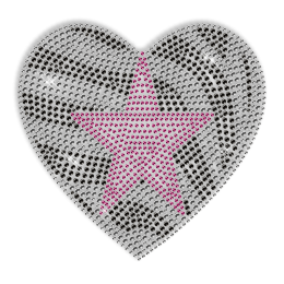 Custom Best Shinning Pink Star in Striped Heart Diamante Iron on Transfer Design for Clothes