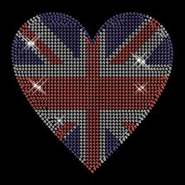 Custom Shinning American Flag Pattern Heart Diamante Iron on Transfer Design for Garments