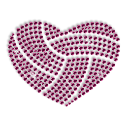Custom Best Shinning Small Pink Heart Diamante Iron on Transfer Motif for Clothes