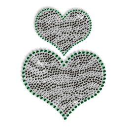 Custom Cute Sparkling Small Heart and Big Heart in Green and Balck Diamante Iron on Transfer Design for Shirts
