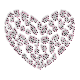 Custom Best Shinning Small Pink Heart Rhinestone Iron on Transfer Motif for Clothes