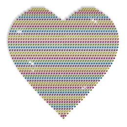 Custom Best Shinning Colorful Heart Rhinestud Iron on Transfer Design for Clothes