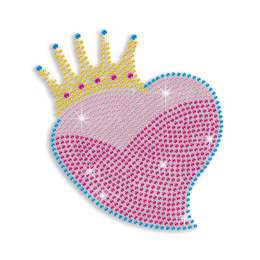 Heart with Crown Hotfix Rhinestud Transfer