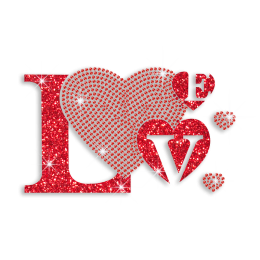 Love Letter with Red Heart Iron on Glitter Rhinestone Motif
