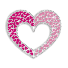 Sweet Pink Heart Nailhead Iron on Motif Design