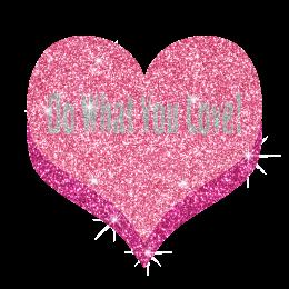 Letters on Heart Glitter Custom Hotfix Transfer for T Shirt