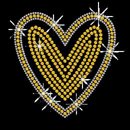 Yellow Heart Shape Iron on Sequin Transfer for Women
