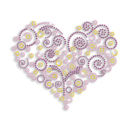 Colorful Heart Shape Rhinestone Transfer for Shirt