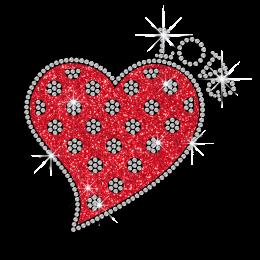 Love Heart Sequin & Glitter Hotfix Transfer