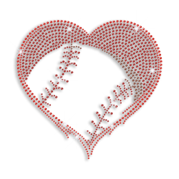 Ruby Softball Fan Heart Iron-on Rhinestone Transfer